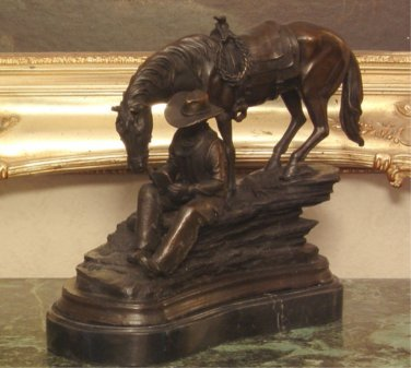 Western Cowboy and Horse Bronze Sculpture