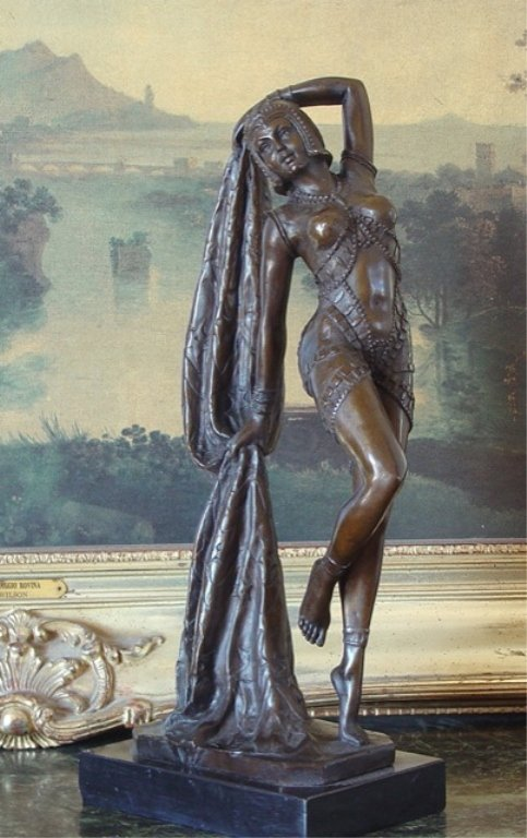 Art Deco Vegas Draped Showgirl Dancer Bronze Sculpture