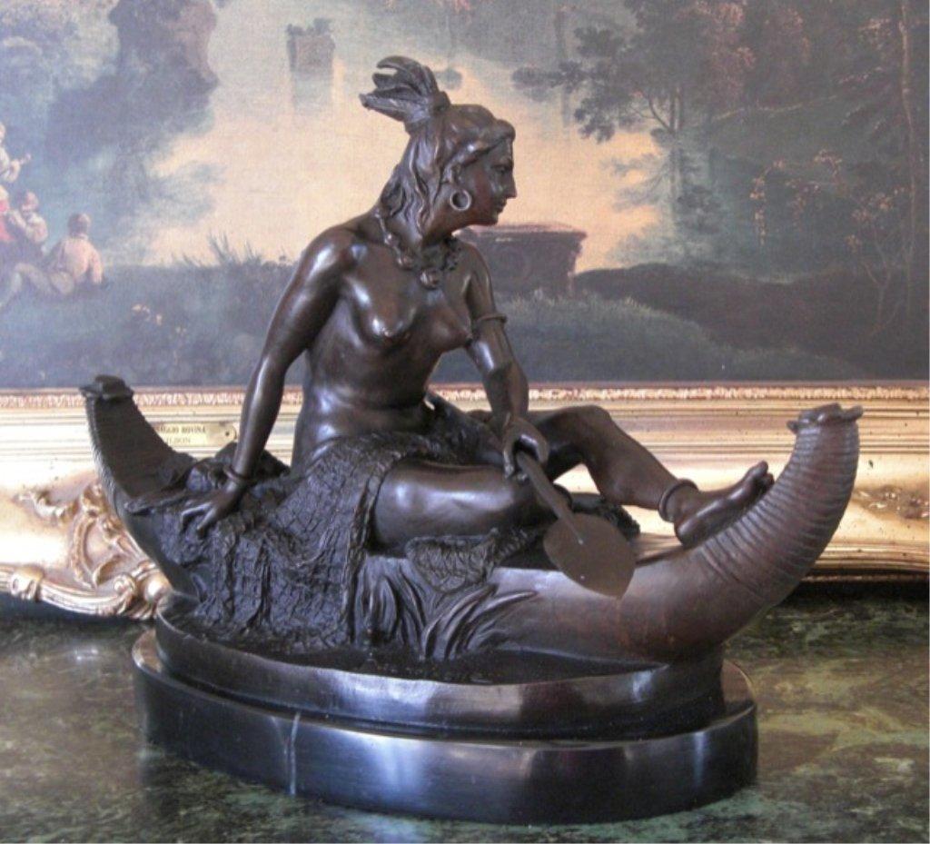 Native American Indian Woman in Canoe Bronze Sculpture