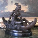 Native American Indian Woman in Canoe Bronze Sculpture
