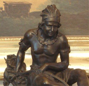Native American Indian Man Hunter in Canoe Bronze Sculpture