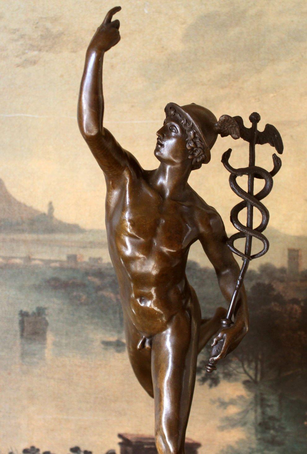 Nude Hermes Mercury & Caduceus Bronze Sculpture