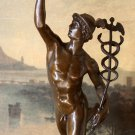 Nude Hermes Mercury & Caduceus Bronze Sculpture