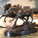Two Running Stallions Horses Bronze Sculpture