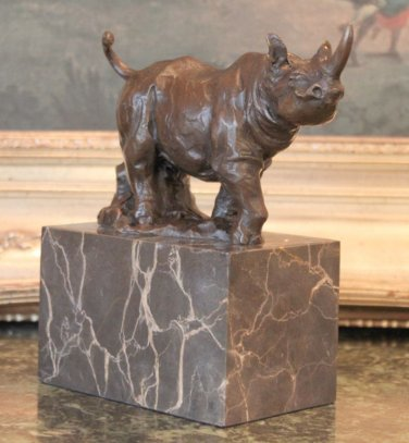 Wildlife Rhinoceros / Rhino Bronze Sculpture