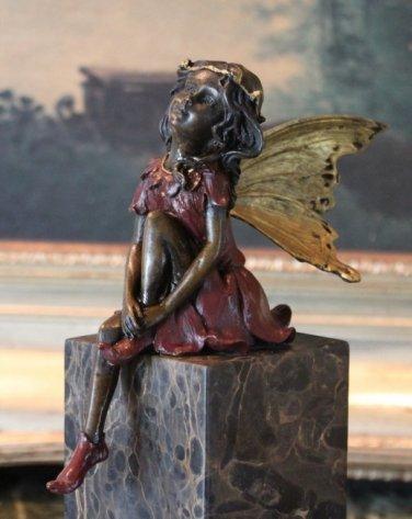 Mythological Sitting Fairy Bronze Sculpture