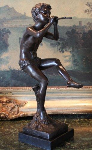 Mythological Faun Flute Playing Bronze Sculpture