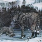 Wildlife Black Wolf Pack, Signed Lithograph