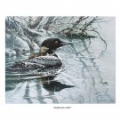 Signed Lithograph, Wildlife Mother & Baby Loon Aquatic Birds