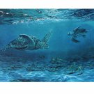 Signed Lithograph, Wildlife Oceanic Loggerhead Sea Turtles
