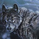 Signed Lithograph, Wildlife Lone Black Wolf