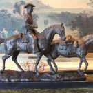 Country Cowboy on Horse Back Bronze Sculpture
