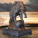 Majestic Wildlife Grizzly Bear Catching Dinner Bronze Sculpture