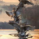Wildlife Flying Marshland Ducks Bronze Sculpture