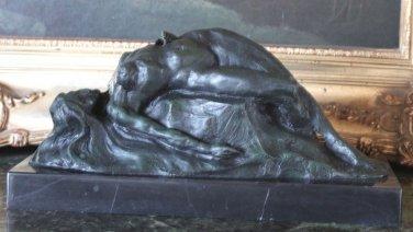 Erotic Nude Reclining Woman Green Patina Bronze Sculpture