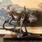 Huge Wildlife Moose Bronze Sculpture