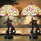 Pair of Tiffany Inspired Stained Glass Equestrian Horse Stallions Lamps