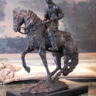 Large Western Cowboy Rancher on Horseback Bronze Sculpture