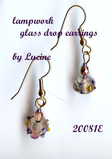 Lampwork Glass Earrings (#20081e)