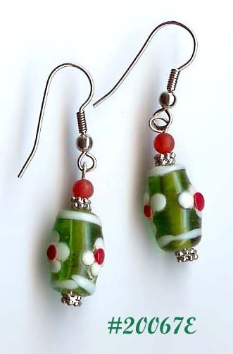 Green Lampwork Glass Earrings (#20067e)
