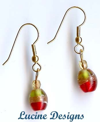 Red And Lime Lampwork Glass Earrings (#2002e)