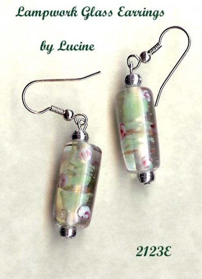 Romantic Lampwork Glass Earrings By Lucine (#2123e)