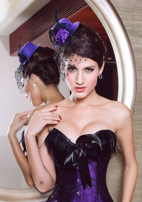 Hair Clip Fashion Hat , Mini Top Hat With Rose