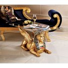 "Art Deco 18½"" Golden Egyptian Sphinx Glass Topped Sculptural Table statue"