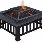 """32"""" Outdoor Metal Firepit Backyard Patio Garden Square Stove Fire Pit W/Cover"""