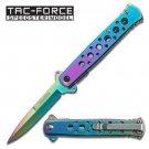 "7"" TAC FORCE Rainbow Spectrum STILETTO survival Spring Assisted Pocket Knife"