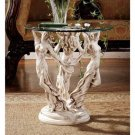 Art Deco The Muses Glass Topped Sculptural Table Replicates Aged Stonework