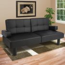 Room Convertible theatre Futon Sofa Faux Leather Fold Down Bed Sleeper Couch
