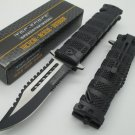 TAC FORCE Black Spring Assisted Open SAWBACK bowieTactical Rescue Pocket Knife