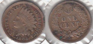 NICE VF 1864CN INDIAN CENT  SCARCE