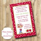 Pink polka dots Strawberry Shortcake Birthday Invitations Personalized Digital Invitation