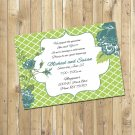 Green and Turquoise Bridal Shower Invitations Personalized Digital Invitation