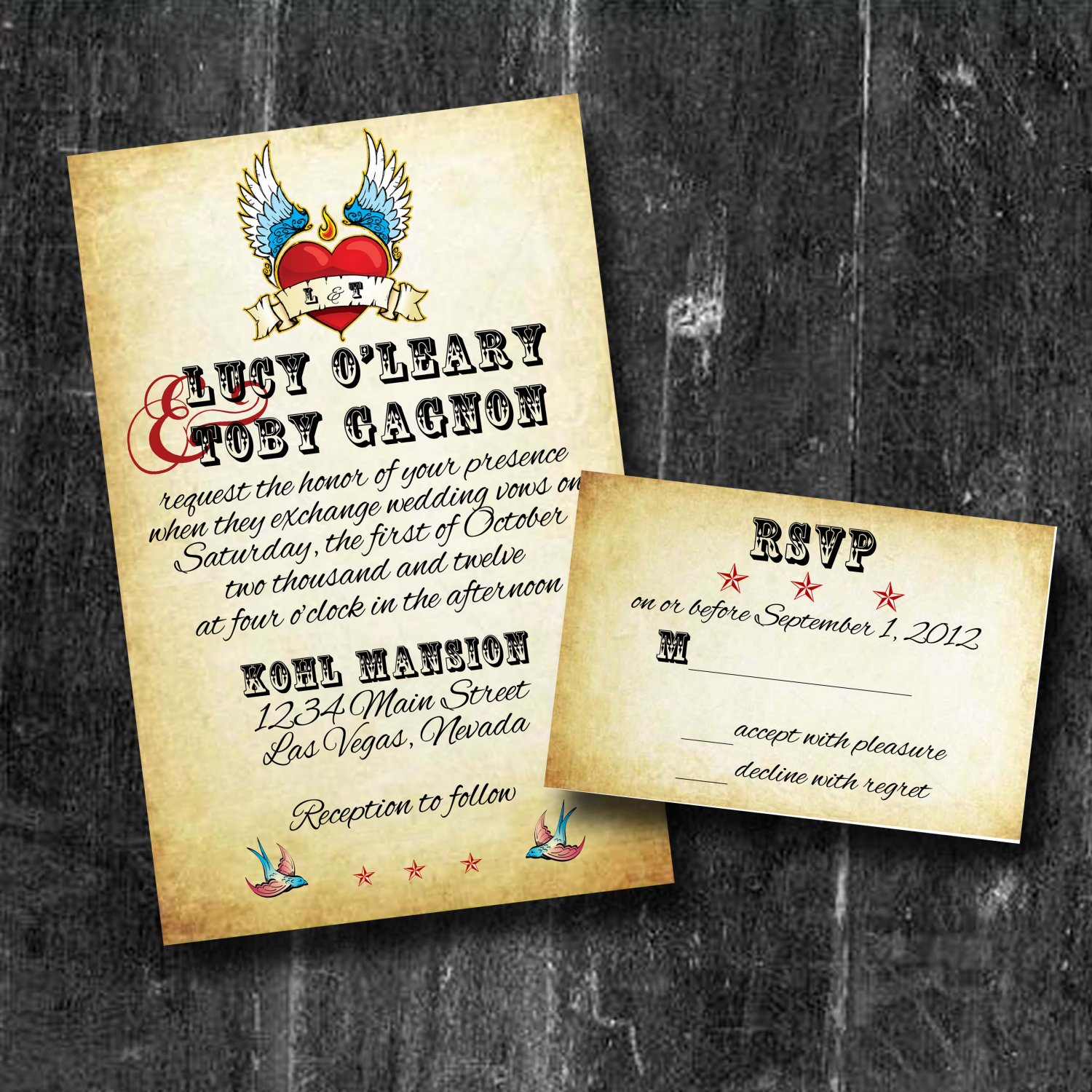 Rolled Wedding Invitations: Rock -N- Roll Wedding Invitations With RSVP Personalized