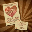 Printable Retro Poster Style LOVE Wedding Invitations with RSVP Digital Invitations