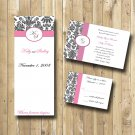 Damask Wedding Invitations w PROGRAM RSVP DIY WEDDING INVITATIONS Any color