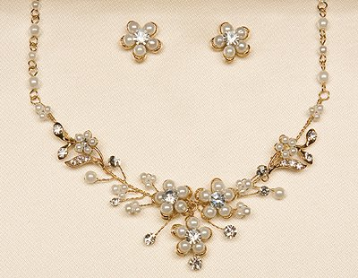 Silver or Gold Neckalce and Earrings Set. (Style # 931)