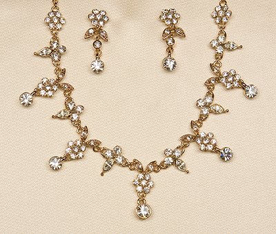 Gold or Silver Necklace and Earrings Set (style # 930)