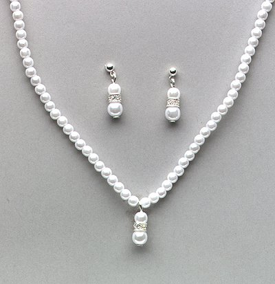 Flower Girl Necklace and Earrings Set (Style # 917)