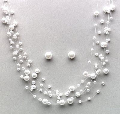 White or Ivory Necklace / Earrings Set (Style # 913)