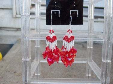 Handmade Red & White Heart Earrings