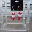 Handmade Red & White Heart Earrings Small
