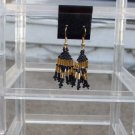 Handmade Black & Gold Dangle Earrings