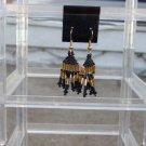 Handmade Black & Gold Dangle Earrings