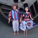 Handmade Barbie & Ken 4th Of July Set W/Flags 1950's Style