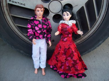 Handmade Barbie & Ken Valentine Heart Set Fancy