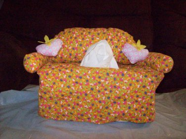 Handmade Orange flowered Couch Tissue Box Cover